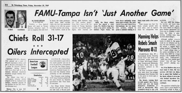 The game made headlines for shattering the stereotype that black athletes and coaches were inferior to whites. Photo credit: Newspapers.com