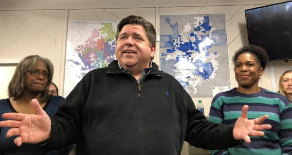 Then-Gov.-elect J.B. Pritzker meets with supporters in downtown Springfield shortly after his election victory in this file photo from 2018.