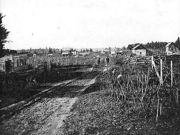 A photo of the Cheboiganing Band village before it was burned in 1900.