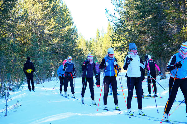 Skiers line up at the annual cross-country ski festival in West Yellowstone on November 26, 2019.