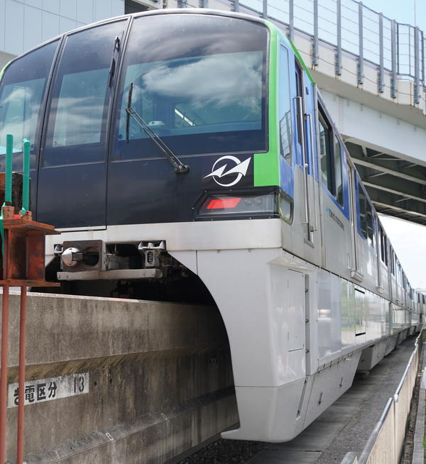 A Japanese model-monorail up close, from the counties' transit trip in July 2019.