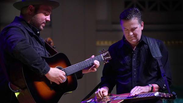 Rob Ickes and Trey Hensley perform live on the AmericanaFest Day Stage.