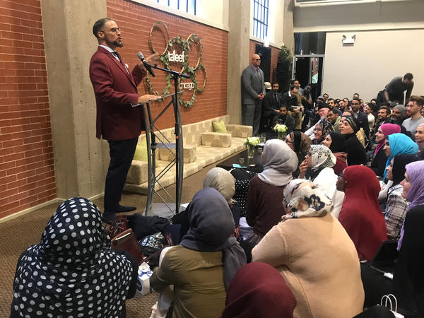 In one of his last talks before taking a leave of absence, Usama Canon addresses a crowd at Ta'leef Chicago's campus. Today his legacy is in jeopardy.