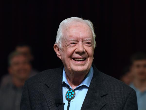 Former President Jimmy Carter attends Maranatha Baptist Church before teaching Sunday school in his hometown of Plains, Ga., in April. Carter was released from a hospital Wednesday following treatment for an infection.