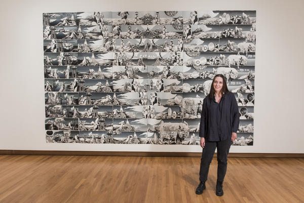 Artist Andrea Carlson in front of her work, 'Ink Babel,' that is included in the exhibition 'Art for a New Understanding: Native Voices 1950s to Today' at the Nasher Museum in Durham.