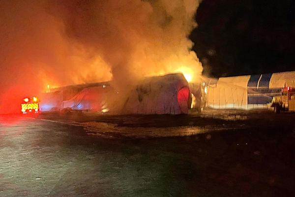 Fire crews in Grant County, Washington fight a Nov. 22, 2019 haystack fire near Winchester. It is one of at least 12 recent haystack fires law enforcement in central Washington deem suspicious.
