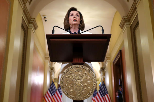 Speaker of the House Nancy Pelosi (D-CA) announced that the House will proceed with articles of impeachment against President Donald Trump at the Speaker's Balcony in the U.S. Capitol.