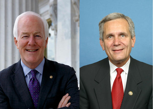 Sen. John Cornyn (left) and Congressman Lloyd Doggett disagree with each other on moving forward with the impeachment of President Trump.