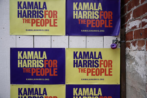 Campaign signs for democratic presidential candidate U.S. Sen. Kamala Harris (D-CA) are displayed on a wall outside of her Oakland campaign office on December 03, 2019 in Oakland, California. Democratic presidential candidate U.S. Sen. Kamala Harris announced today that she is dropping out of the 2020 presidential race citing financial difficulties.