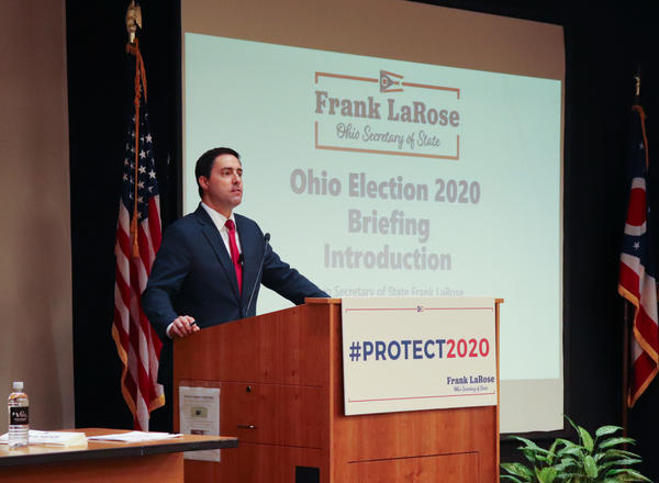 Ohio Secretary of State Frank LaRose addressing county elections officials on Dec. 6, 2019.