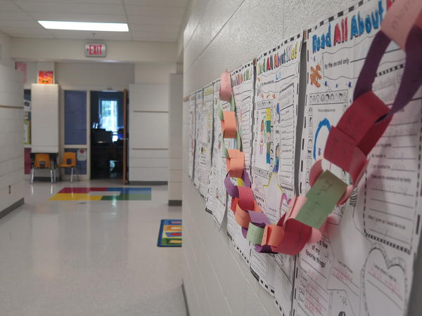 A hallway is decorated with classroom projects at a public elementary school in Westerville.