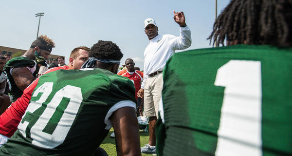 Charlie Strong, seen addressing his team in March 2017, was fired as USF head football coach Sunday afternoon with a 21-16 record in three seasons. USF ATHLETICS