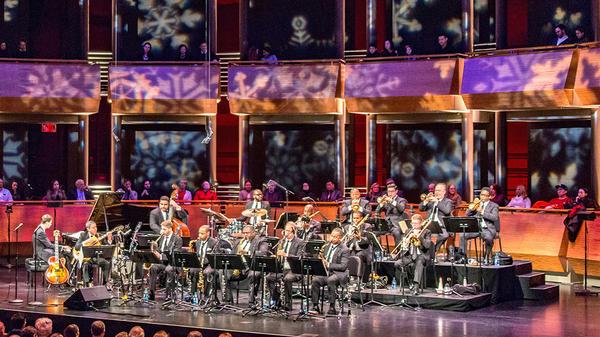 Wynton Marsalis' Big Band Holidays concert onstage at Jazz at Lincoln Center.