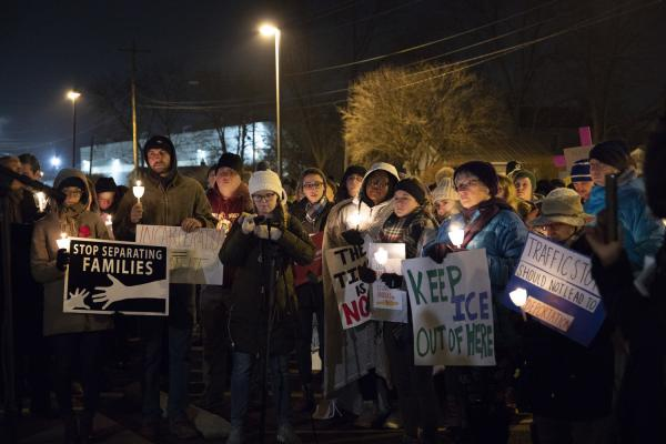Participants in the UD vigil gathered last year outside the Butler County Jail, an ICE facility, to mark International Human Rights Day.