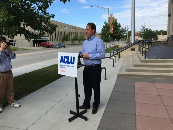 Scott Moore, a registered voter in Johnson County, appears at a June 2018 press conference when the ACLU of Kansas announced the lawsuit challenging Crosscheck.