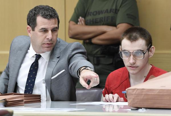 Parkland school shooting suspect Nikolas Cruz in Judge Scherer's courtroom with his attorney Gabriel Ermine in Fort Lauderdale, Fla. this week.
