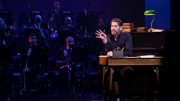 Harry Connick, Jr., onstage during a performance of his short-run Broadway show, <em>A Celebration of Cole Porter</em>.