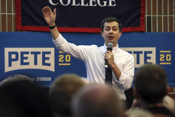 Democratic presidential candidate South Bend, Ind., Mayor Pete Buttigieg speaks during a campaign event on Dec. 5 at New England College in Henniker, N.H. (Cheryl Senter/AP)