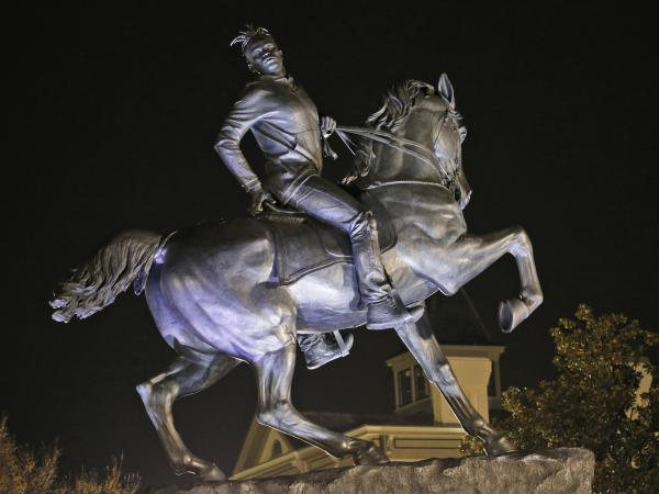"""Kehinde Wiley's """"Rumors of War"""" depicts a young black man with dreadlocks and Nikes posing heroically atop a horse. The statue is a permanent installment at the Virginia Museum of Fine Arts in Richmond."""