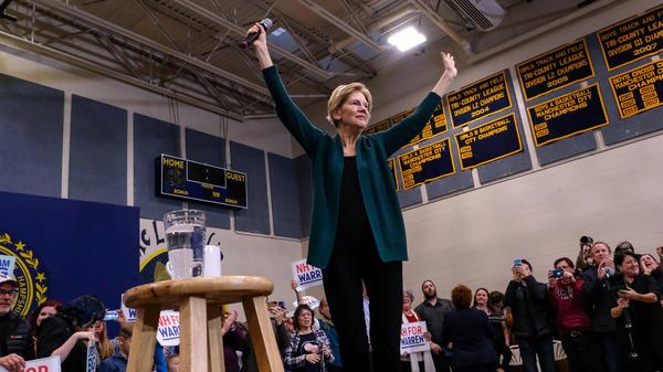Presidential candidate Elizabeth Warren addresses her supporters in Manchester, N.H., at a Nov. 23 event.
