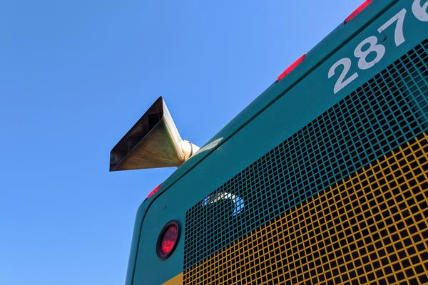 The exhaust pipe on one of Wichita's diesel buses.