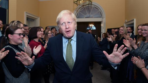 Prime Minister Boris Johnson and his staff returns to 10 Downing Street after visiting Buckingham Palace, where he was given permission to form the next government during an audience with Queen Elizabeth II.