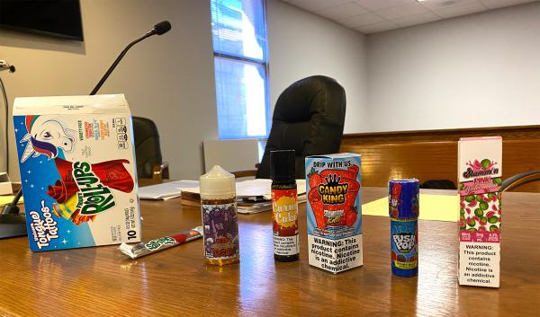 Flavored vape products at an Oct. 30, 2019 state district court hearing in Hamilton over Montana's temporary vape ban.