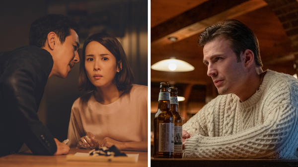 """<em>Parasite</em> and <em>Knives Out</em> top Justin Chang's 2019 list of movie pairings. At left, Lee Sun-kyun and Cho Yeo-jeong play a wealthy couple whose hired help isn't quite what it seems in Bong Joon-ho's thriller, <em data-stringify-type=""""italic"""">Parasite</em>. Chris Evans (right) is a trust-fund playboy in <em data-stringify-type=""""italic"""">Knives Out</em>."""