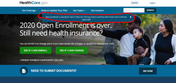 The Trump administration announced a 36-hour extension of open enrollment. COURTESY: HEALTHCARE.GOV