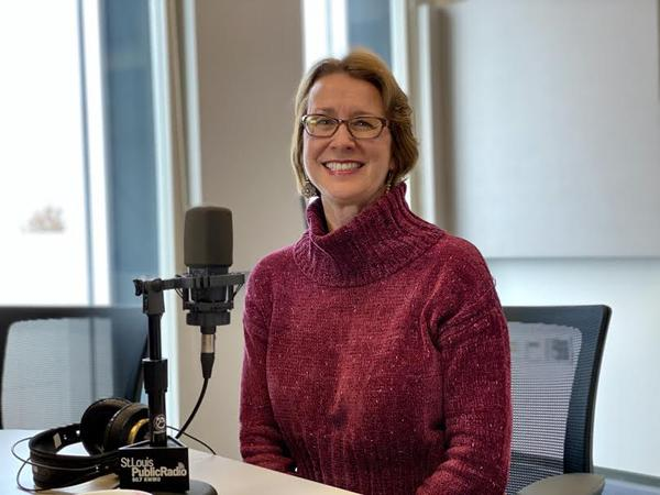 State Rep.-elect Trish Gunby, D-St. Louis County, poses for a portrait in the St. Louis Public Radio studios.