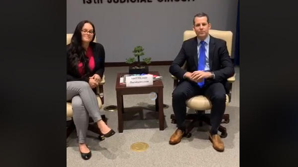 Hillsborough State Attorney Andrew Warren, right, and Jessica Younts of the Florida Rights Restoration Coalition. FACEBOOK LIVE