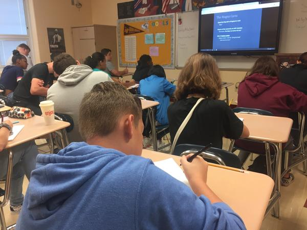 Freshmen in a classroom in Licking Heights High School work on an assignment.