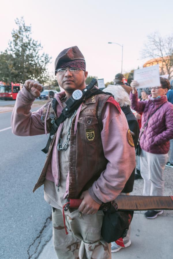 """Oso"" aka Victor Antu of the Autonomous Chapter of the Brown Berets was at the rally in San Antonio with other members and a first aid kit."