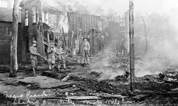 August 15, 1908: photograph of ruins of the so-called Badlands, a black neighborhood largely burned down by whites.