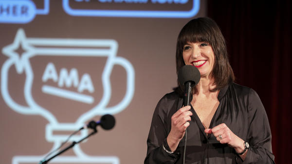 Host Ophira Eisenberg performs on <em>Ask Me Anothe</em>r at the Bell House in Brooklyn, New York.