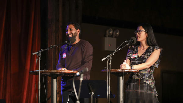 Shreyas Vangala and Danielle Mebert go head-to-head in <em>Ask Me Another</em>'s Tournament of Champions at the Bell House in Brooklyn, New York.