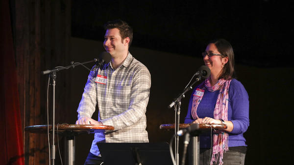 Lance Merlo and Leah Berkowitz return to compete in <em>Ask Me Another</em>'s Tournament of Champions at the Bell House in Brooklyn, New York.