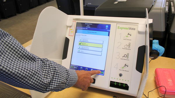 A test of a voting machine in Topeka.