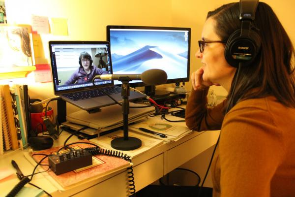 Mary Mahoney records a podcast taping with her best friend and cohost, Allison Horrocks.