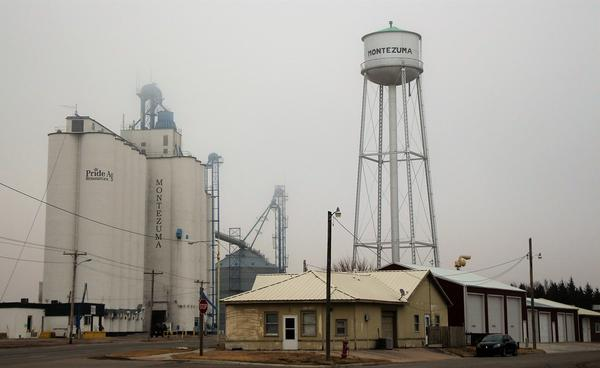 A grain elevator in Montezuma, Kansas.