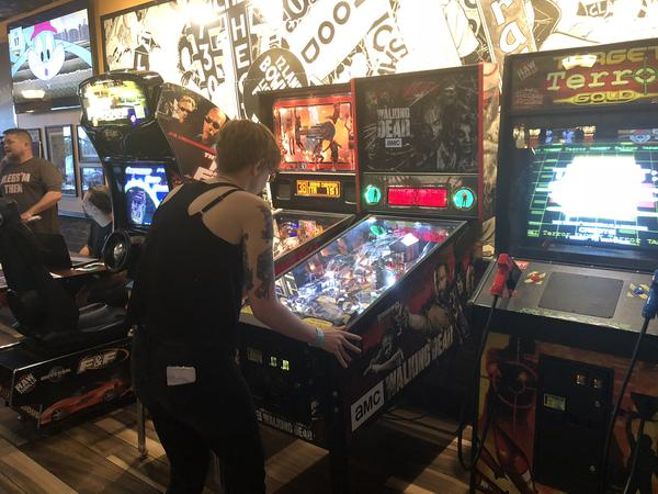 Megan Brown shows off her pinball skills as one of the top ranked women in the world.