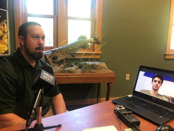 ODNR District 3 Assistant Wildlife Management Supervisor Geoff Westerfield talks via Skype to WKSU listener Nicholas Kavalec, a student at John Carroll University.