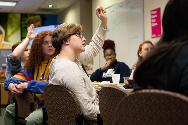 Students in the Teen Advocates for Sexual Health group participate in discussion about gender identity, sexual violence and other aspects of sexuality during a meeting on Nov. 6.