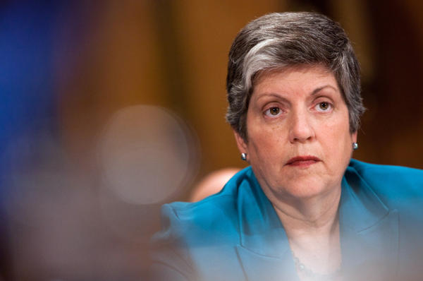 Janet Napolitano, Secretary of the Department of Homeland Security, testifies at a hearing on Capitol Hill.