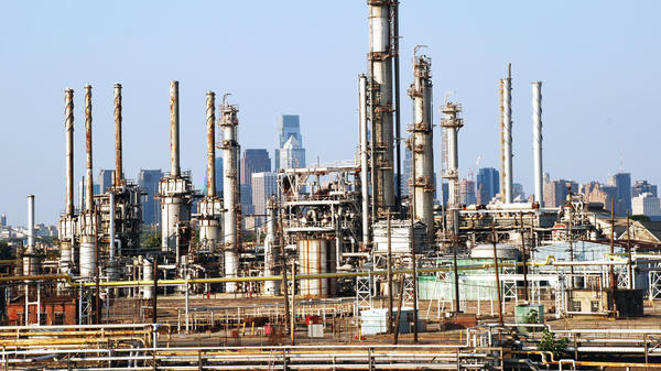 Distillation towers, tanks and other equipment at Sunoco's sprawling refinery on the banks of the Schuylkill River on Aug. 3, 2009. Sunoco is selling off two refineries and, in September, announced it would get out of the refining business.