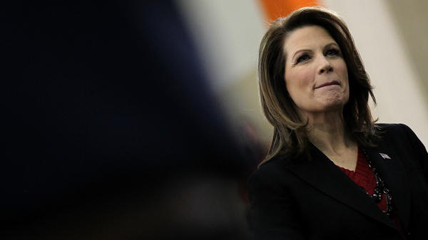 "Minnesota Rep. Michele Bachmann, who got just 5 percent of the vote in Iowa's caucuses, referred to herself Tuesday as the ""true conservative who can and who will defeat Barack Obama in 2012."" On Wednesday, she bowed out of the race."