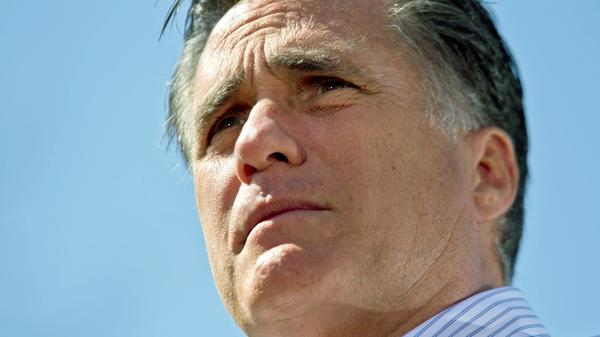 """By talking about """"restoring"""" the past, Mitt Romney hopes his campaign will have broad appeal. Here he addresses supporters during a campaign stop at Kirkwood Park on March 13 in Kirkwood, Missouri."""