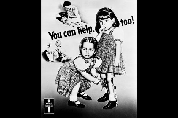 Patricia, 6, and Pamela, 5, were stricken with polio in 1948. They were poster children for the March of Dimes' campaign efforts to eradicate infantile paralysis. This poster first appeared in 1952.
