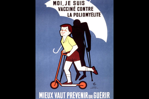 A poster distributed by French public health officials promotes polio vaccination by representing the shot as a protective umbrella.