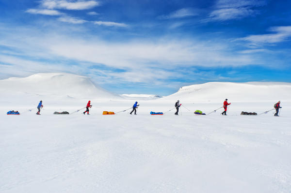 """""""A race that follows in the path of the famous explorer Roald Amundsen brings the contestants to the Hardangervidda Mountainplateu, Norway. ... [The] exact same route Amundsen used to prepare for his South Pole expedition in 1911 is still used by explorers today."""""""